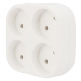 Четверник электрический 6А без заземления, белый REXANT