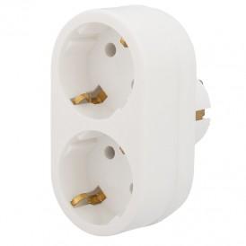 Двойник электрический 16 А с заземлением белый REXANT
