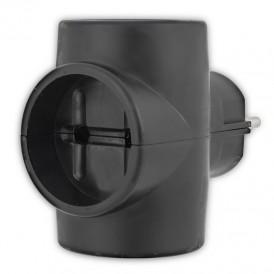 Тройник электрический 6А без заземления, черный REXANT