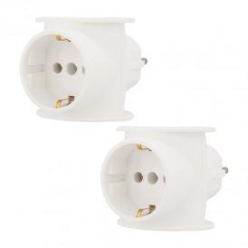 Набор тройников электрических универсальных REXANT 16 А, одно гнездо с заземлением, белый (2 шт./уп.)