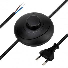 Сетевой шнур с напольным переключателем 2х0,75 мм², 2,5 м черный REXANT