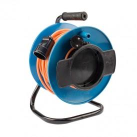 Удлинитель на катушке ПВС 2х1,0 мм², 50 м., оранжевый (газон)  REXANT