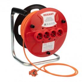 Удлинитель на катушке 50 метров 4 гнезда оранжевый ПВС 3х1.0 мм² (10 А/2,3 кВт) REXANT (аналог 11-7085)