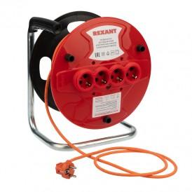 Удлинитель-шнур на катушке REXANT ПВС 3х1.0, 20 м, 4 гнезда, с/з, 10 А, 2200 Вт, IP20, оранжевый (Сделано в России)