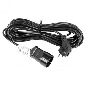 Удлинитель-шнур REXANT ПВС 3х0.75, 10 м, с/з, 6 А, 1300 Вт, IP44, черный (Сделано в России)
