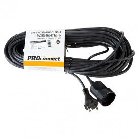 Удлинитель-шнур PROconnect ПВС 2х0.75, 20 м, б/з, 6 А, 1300 Вт, IP20, черный (Сделано в России)