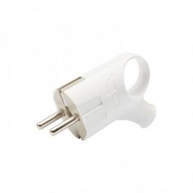 Вилка угловая с кольцом с/з PROconnect, 16А, белая