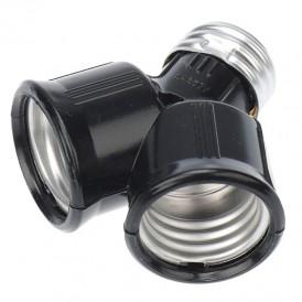 Разветвитель цокольный Е27-2хЕ27 черный REXANT