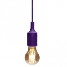 Патрон E27 силиконовый со шнуром 1 м фиолетовый REXANT