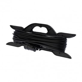 Удлинитель на рамке 20 метров черный ПВС 2х0.75 мм² (6 А/1300 Вт) PROconnect