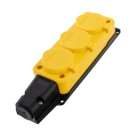Розетка штепсельная трехместная влагозащищенная, с/з, 16 А, IP54, каучук желтая REXANT