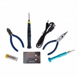 Набор для пайки REXANT (USB паяльник 8 Вт,  кусачки,  тонкогубцы,  подставка,  припой,  отвертка)