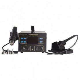 Паяльная станция REXANT,  2 в 1: паяльник+термофен,  с ЖК дисплеем,  100-480 °С