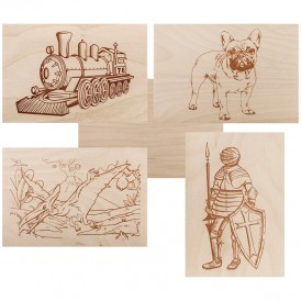 Доски для выжигания REXANT, «Набор №3» (воин/динозавр/собака/машина/без рисунка), 148х210 мм (А5), 5 шт., пакет