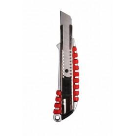 Нож с сегментированным лезвием 18 мм,  металлический обрезиненный корпус REXANT