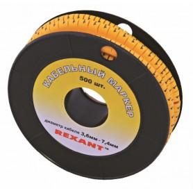 Маркеры на кабель, ø 3,6...7,4 мм, цифры 0-9, комплект 10 роликов (EC-2) REXANT