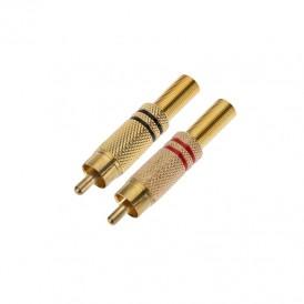 Разъем штекер RCA металл пайка ZN чёрный/красный GOLD PROCONNECT