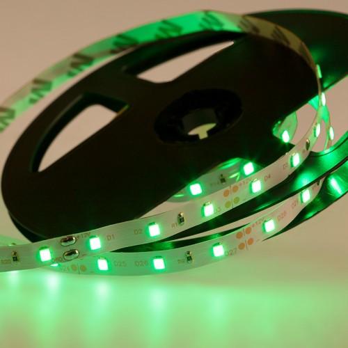LED лента открытая, 8 мм, IP23, SMD 2835, 60 LED/m, 12 V, цвет свечения зеленый