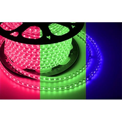 LED лента 220 В, 13х8 мм, IP67, SMD 5050, 60 LED/m, цвет свечения RGB