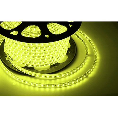 LED лента 220 В, 10х7 мм, IP67, SMD 2835, 60 LED/m, цвет свечения желтый, бухта 100 м