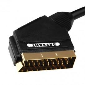 Шнур SCART - SCART (21 Pin), длина 1,5 метра (GOLD) REXANT 3484