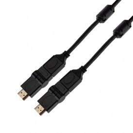 Шнур HDMI - HDMI с фильтрами, длина 2 метра, угловой 360° (GOLD) (PVC пакет) REXANT