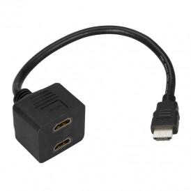 Переходник REXANT штекер HDMI - 2 гнезда HDMI с проводом, черный (10 шт./уп.)