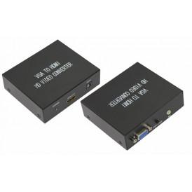 Конвертер VGA + Стерео 3,5 мм на HDMI, металл  REXANT