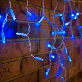 Гирлянда Айсикл (бахрома) светодиодный, 1,8 х 0,5 м, белый провод, 230 В, диоды синие, 48 LED|255-023| NEON-NIGHT