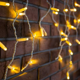 Гирлянда Айсикл (бахрома) светодиодный, 1,8 х 0,5 м, белый провод, 230 В, диоды ТЕПЛЫЙ БЕЛЫЙ, 48 LED|255-026| NEON-NIGHT