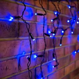 Гирлянда Айсикл (бахрома) светодиодный, 2,4 х 0,6 м, черный провод, 230 В, диоды синие, 88 LED |255-031| NEON-NIGHT