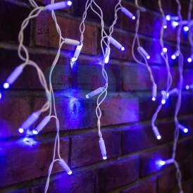 Гирлянда Айсикл (бахрома) светодиодный, 2,4х0,6м, эффект мерцания, белый провод, 230 В, диоды СИНИЕ, 88 LED |255-035| NEON-NIGHT