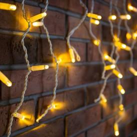 Гирлянда Айсикл (бахрома) светодиодный, 2,4 х 0,6 м, белый провод, 230 В, диоды ТЕПЛЫЙ БЕЛЫЙ, 88 LED|255-037| NEON-NIGHT