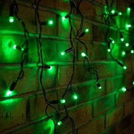 Гирлянда Айсикл (бахрома) светодиодный, 2,4 х 0,6 м, черный провод, 230 В, диоды зелёные, 88 LED |255-044| NEON-NIGHT