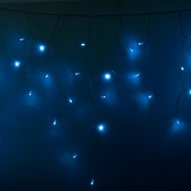 Гирлянда Айсикл (бахрома) светодиодный, 2,4 х 0,6 м, прозрачный провод, 230 В, диоды синии, 88 LED |255-053| NEON-NIGHT