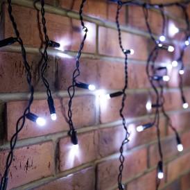 Гирлянда Айсикл (бахрома) светодиодный, 4,8 х 0,6 м, черный провод, 230 В, диоды белые, 176 LED |255-135| NEON-NIGHT