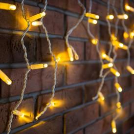 Гирлянда Айсикл (бахрома) светодиодный, 4,8 х 0,6 м, белый провод, 230 В, диоды ТЕПЛЫЙ БЕЛЫЙ, 152 LED|255-138-6| NEON-NIGHT
