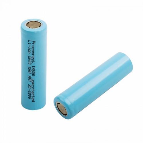 Аккумулятор 18650 unprotected Li-ion 2000 mAH индивидуальная упаковка PROconnect
