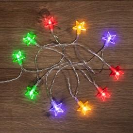 Гирлянда светодиодная «Звездочки» 1.5 м, 10 LED, прозрачный ПВХ, цвет свечения мультиколор, 2 х АА (батарейки не в комплекте) NEON-NIGHT