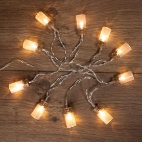 Гирлянда светодиодная «Баночки» 1.5 м, 10 LED, прозрачный ПВХ, цвет свечения теплый белый, 2 х АА (батарейки не в комплекте) NEON-NIGHT