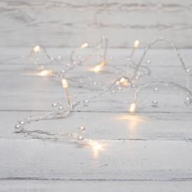 Гирлянда светодиодная «Жемчужинки» 1.5 м, 10 LED, прозрачный ПВХ, цвет свечения теплый белый, 2 х АА (батарейки не в комплекте) NEON-NIGHT