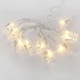 Гирлянда светодиодная «Прищепки» 10 LED, 1.5 м, прозрачный ПВХ, теплый белый цвет свечения, 2 х АА (батарейки не в комплекте) NEON-NIGHT