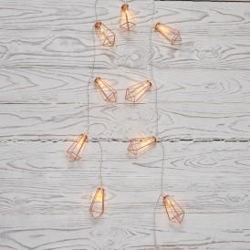 Гирлянда светодиодная «Кристаллы» бронзовые 10 LED, 1,5 м, прозрачный ПВХ, теплый белый свет свечения, 2 х АА (батарейки не в комплекте) NEON-NIGHT