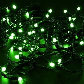 Гирлянда Нить 10м, постоянное свечение, черный ПВХ, 24В, цвет: Зелёный