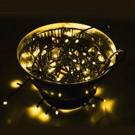Гирлянда Нить 10м, постоянное свечение, чёрный ПВХ, 230В, цвет: Золото