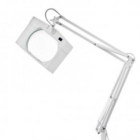 Лупа на струбцине REXANT, квадратная, 3D, с подсветкой, белая