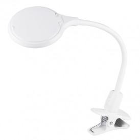 Лупа настольная 3D REXANT с подсветкой 30 LED, прищепка в блистере, белая
