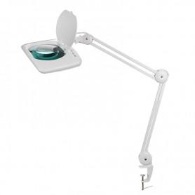 Лупа на струбцине REXANT, квадратная, 5D, с подсветкой 60 SMD LED, сенсорный регулятор яркости, белая