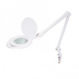 Лупа на струбцине REXANT, круглая, 5D, с подсветкой 96 LED, теплый и холодный свет, белая