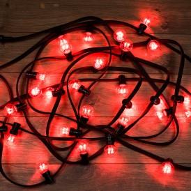 Гирлянда LED Galaxy Bulb String 10м, черный КАУЧУК, 30 ламп*6 LED КРАСНЫЕ, влагостойкая IP65  331-322  NEON-NIGHT